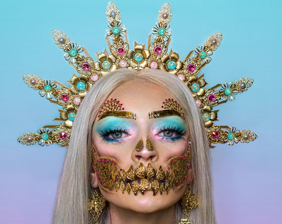 Halo Crown, Flower Halo Headband, Halo, Halo Headpiece, Crown, Headband, Headpiece, Halloween, Sugar Skull, Halloween Costume, Party Costume