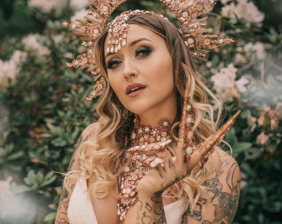 Lace Choker necklace, Rose Gold Choker necklace, Chain Choker necklace, Glamour Choker, Party, Handmade necklace, Body Decoration