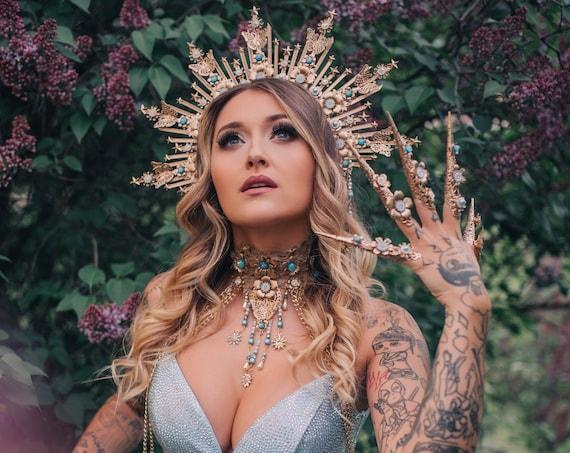Sky Blue Choker necklace, Gold Choker necklace, Chain Choker necklace, Glamour Choker, Party, Lace necklace, Body Decoration, Photo props