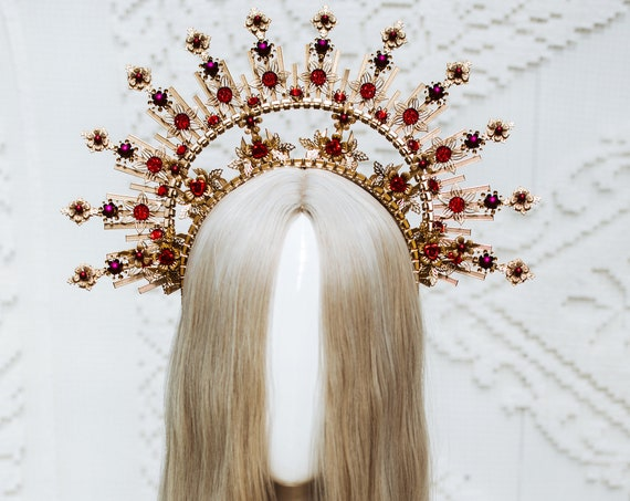 Red Halo Crown, Halo Headpiece, Festival crown, Festival headpiece, Met Gala Crown, Wedding Crown, Halo crown, Boho Wedding, Halo Headband