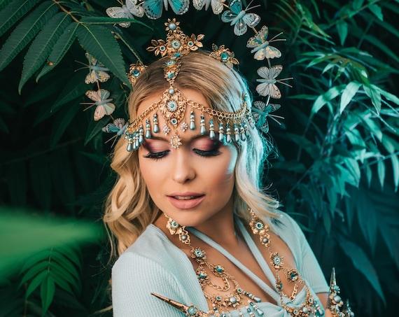 Flower earrings, Long Earrings, Gold Earrings, Butterfly earrings,Blue earrings, Butterfly Earrings, Flowers, Romantic earrings, Photo props