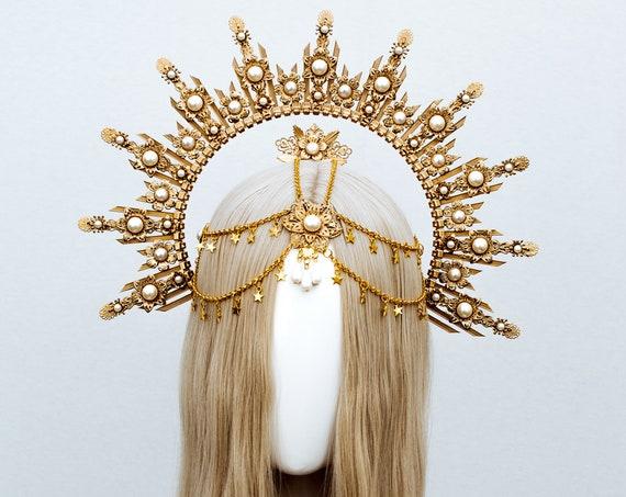 Gold Halo crown, Halo Headband, Halo headpiece, Festival crown, Festival headpiece, Met Gala Crown, Sunburst Crown, Mary Crown, Boho hair