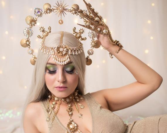 Mermaid Halo Crown, Halo Crown, Halo Headpiece, Halo Headband, Halo Headlights, Crown, Gold Halo, Headpiece, Wedding Crown, Mermaid Crown