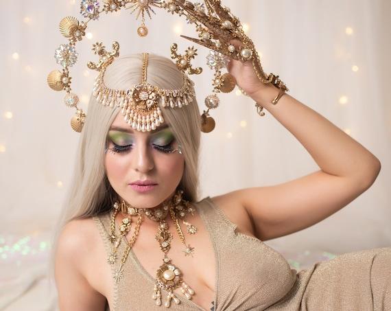 Mermaid Choker necklace, Lavender Choker necklace, Chain Choker necklace, Glamour Choker, Party, Lace necklace, Moon child, Photo props