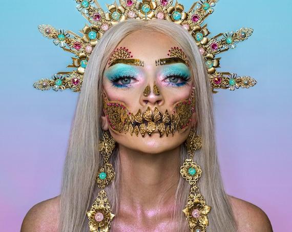 Filigree earrings, Long Earrings, Gold Earrings, Butterfly, Halloween, Sugar skull, Halloween costume, Blue earrings, butterfly Earrings