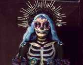 Halloween, Sugar skull, Flower crown, Halloween costume, Halloween party, Santa Muerte costume, Party, Festival, Halo crown