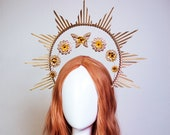 Gold Halo crown, Butterfly Halo Headpiece, Festival crown, Festival headpiece, Met Gala Crown, Sunburst Crown, Zip Tie Crown, Mary Crown