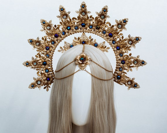 Gold Halo crown, Halo Headband, Halo headpiece, Festival crown, Festival headpiece, Met Gala Crown, Sunburst Crown, Moon child, Boho jewelry