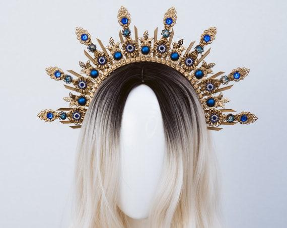 Blue Halo Crown, Halo, Halo Crown, Halo Headpiece, Halo Headband, Halo Headlights, Crown, Gold Halo, Headpiece, Wedding Crown, Headband