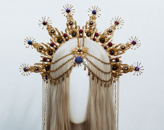 Gold Halo crown, Halo Headband, Halo headpiece, Festival crown, Festival headpiece, Met Gala Crown, Sunburst Crown, Mary Crown, Boho crown