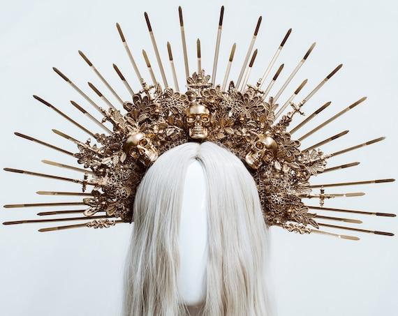 Gold Halo crown, Sugar Skull Halo Headband, Festival crown, Festival headpiece, Photo Props, Sunburst Crown, Halloween, Skul Make Up, Goth