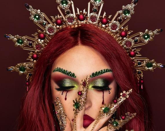 Gold Halo crown, Burgundy Halo Headband, Emerald crown, Festival headpiece, Met Gala Crown, Sunburst Crown, Gold Zip Tie Crown, Mary Crown
