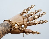Gold Fingers Jewellery, Gold Bracelet, Nails Jewellery, Halloween, Filigree Jewellery, Gold Fingers, Sugar skull, Photoprops, Finger Claws