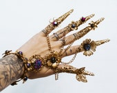 Gold Fingers Jewellery, Gold Bracelet, Nails Jewellery, Halloween, Filigree Jewellery, Gold Fingers, Sugar skull, Photoprops, Ring, Jewelry