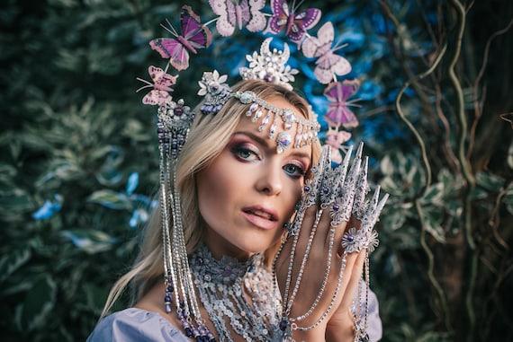 Silver Butterfly Finger Claws, Silver Bracelet, Nails Jewellery, Butterflies, Filigree Jewellery, Silver Finger Jewellery,Photo props