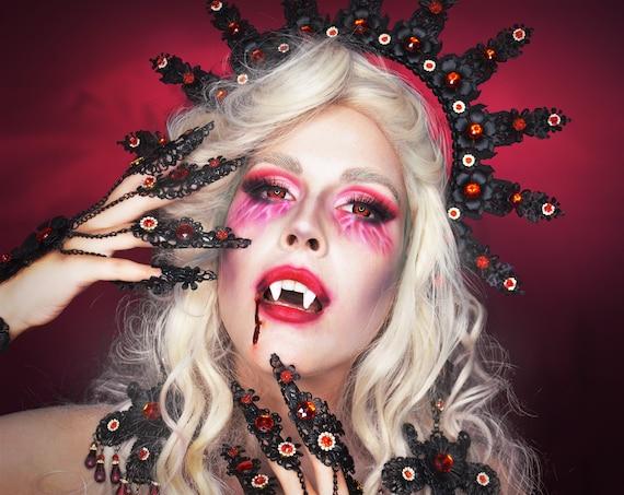 Black Finger Claws, Gold Bracelet, Nails Jewellery, Halloween, Filigree Jewellery, Gold Finger Jewellery, Photo props, Sugar skull, Spooky
