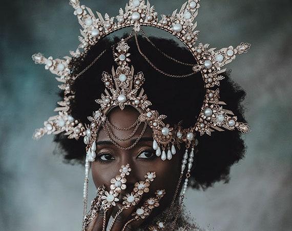 Gold Halo crown, Glitter Halo Headpiece, Festival crown, Boho Wedding, Met Gala Crown, Wedding Crown, Zip Tie Crown, Mary Crown, Boho Crown