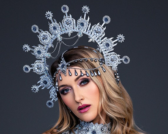 Silver Halo Crown, Halo Headpiece, Festival crown, Festival headpiece, Met Gala, Wedding Crown, Halo crown, Boho Wedding, Halo Headband