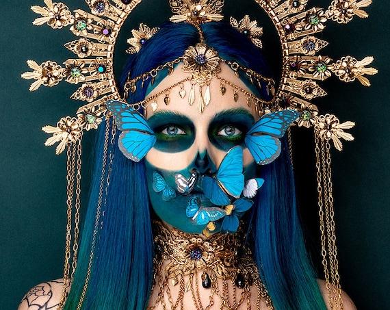 Choker necklace, Gold Choker necklace, Flower Choker, Glamour Choker, Party, Handmade necklace, Festival, Halloween, Sugar Skull