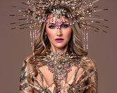 Skull Harness, Gold Body Harness, Chain Choker necklace, Glamour Choker, Halloween, Handmade necklace, Body Harness, Festival fashion, Rave