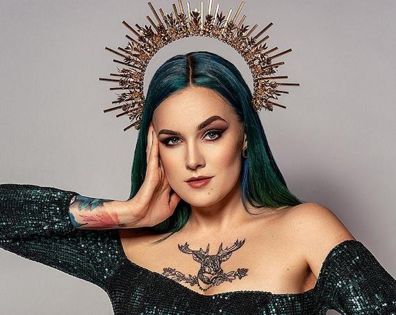 Gold Halo crown, Glitter Halo Headpiece, Festival crown, Festival headpiece, Met Gala Crown, Wedding Crown, Zip Tie Crown, Mary Crown, Boho