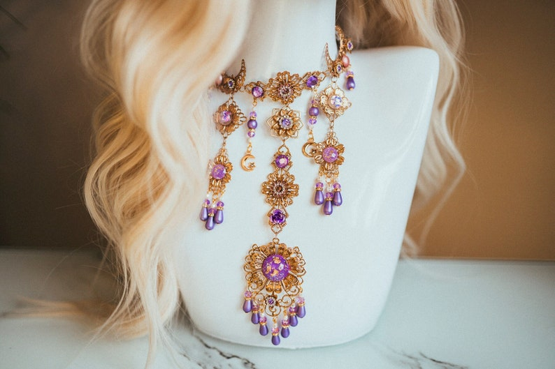 Mermaid Choker necklace Lavender Choker necklace Chain image 1