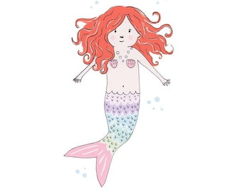 Custom personalised little mermaid print