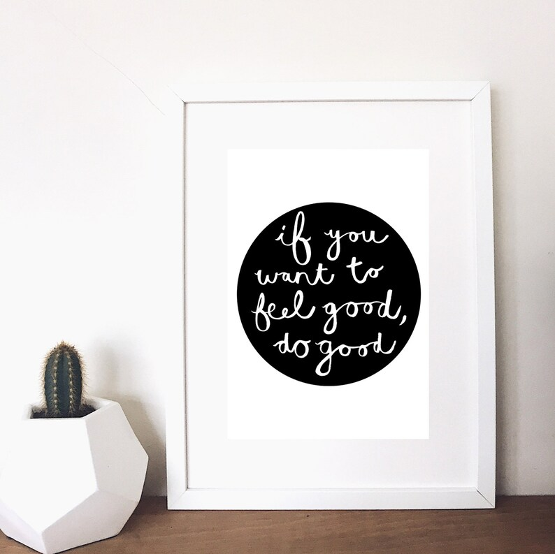 Inspirational quote kindness print black image 0