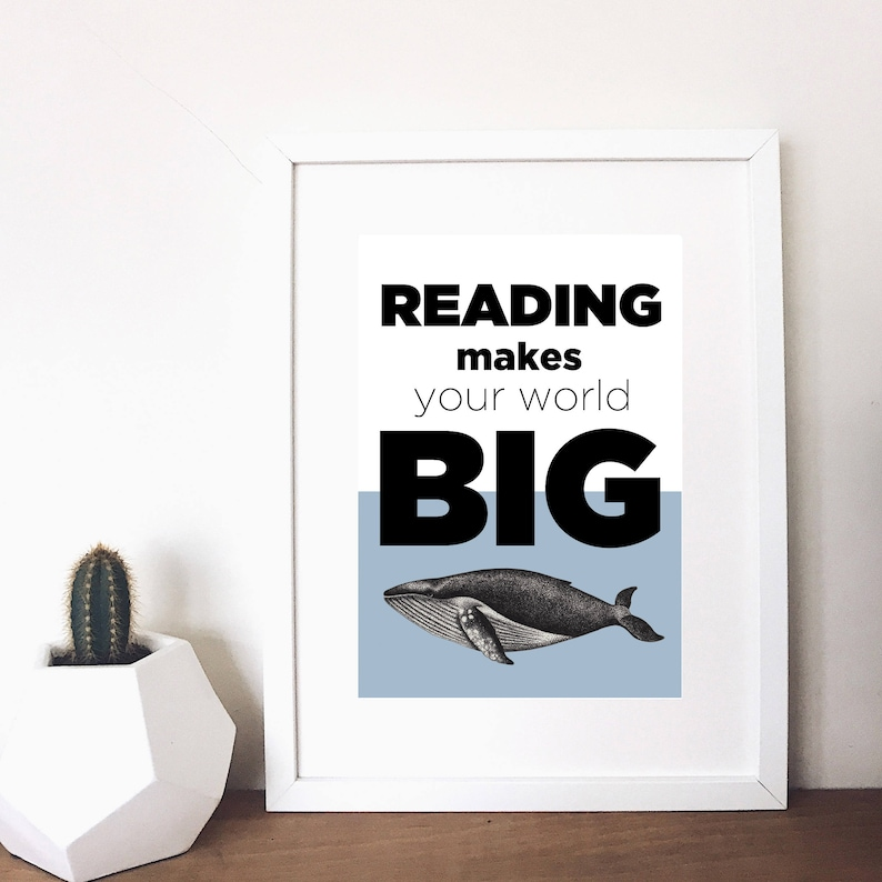 whale reading print image 0