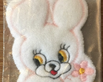 Fuzzy Blue Easter Bunny Rabbit Applique Patch 3-Pack, Iron on