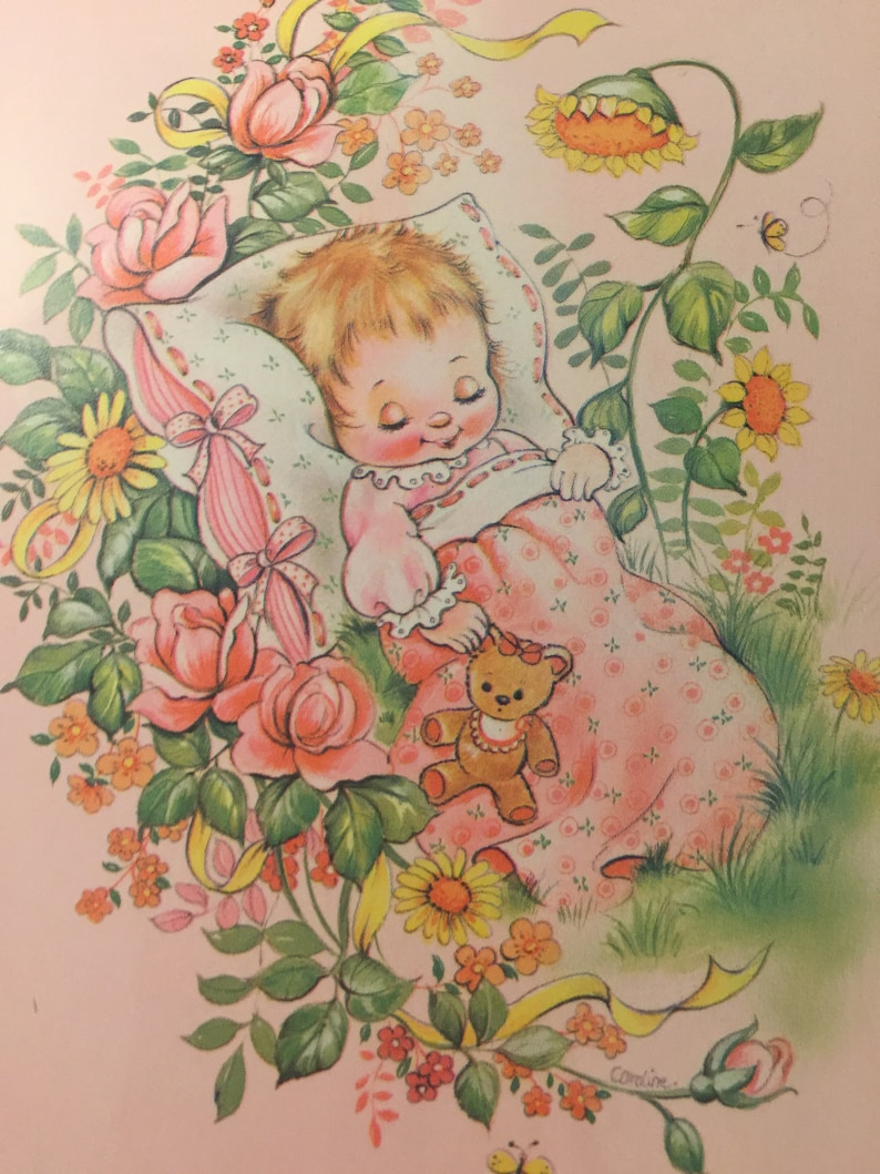 RARE VintageRetro Circa 1970s /'Special Greetings to Your Baby Girl/' Card Sweet Verse Super Cute Baby Girl Design Vintage Lovers Card