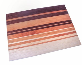 Wood cutting board - handmade walnut cherry & maple striped serving board, cheese plate, chopping block, charcuterie board, butcher block