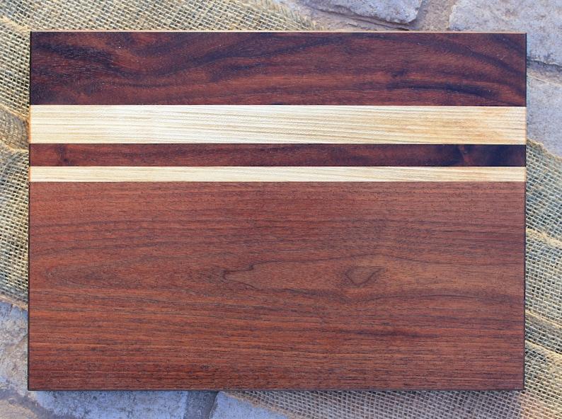 Wood cutting board woodworking charcuterie board chopping block 12x16 handmade walnut /& maple striped serving board cheese plate