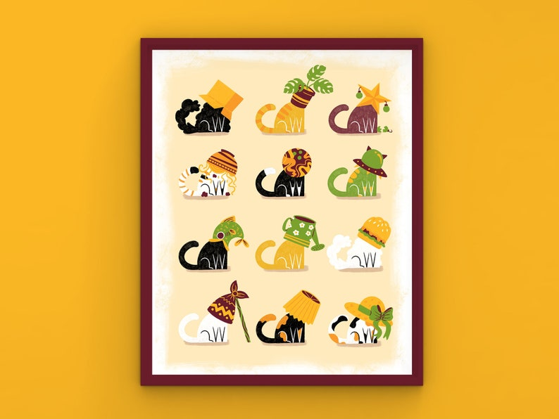 Crazy Cats Art Print   Multi Size   Colorful Illustration   image 0