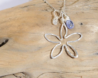 Periwinkle Blue Tanzanite and Moonstone Pendant Sterling Silver Necklace, Dainty Gemstone Necklace, Genuine Simple Gemstone Necklace Gift