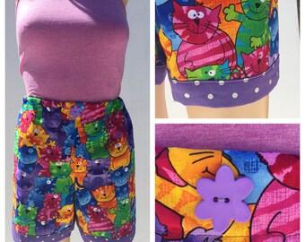 Cat Lover's Pajama Shorts Set