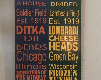 a719b3e3 House Divided Sign - Chicago Bears / Green Bay Packers