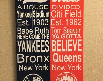 Yankees / Mets House Divided Subway Sign