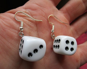 Small lucky dice earrings Minimal and lightweight dice studs. Cute and funky earrings perfect for a gamer or Las Vegas lover