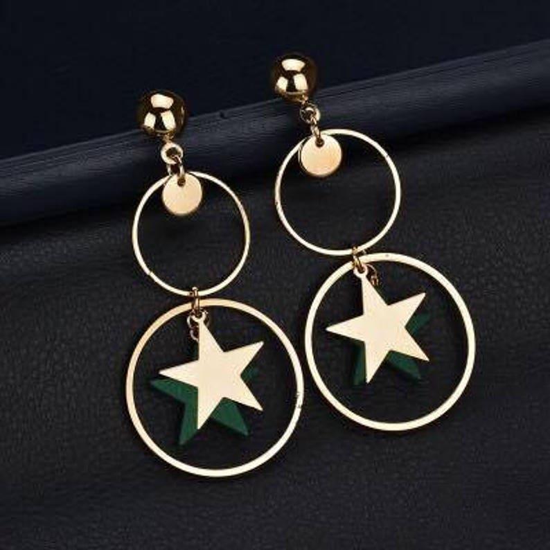 Women Green Hoop Earrings  New Fashion Earrings