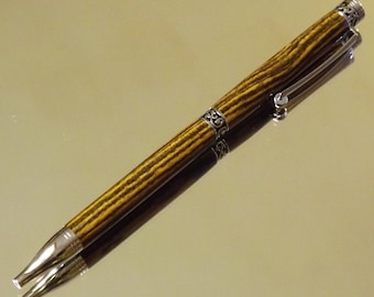 Handmade wooden Chic-Line ballpoint twist pen in bocote with chrome plating