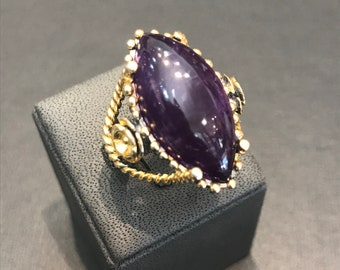 HANDMADE silver 925 ring with amethyst stone black rhodium and goldplated k18 coating