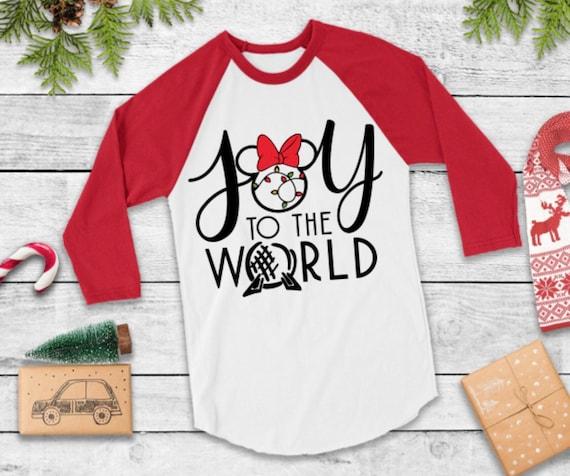 Christmas Joy to The World Shirt Cute Long Sleeve Printed Tee Shirts Tops for Women Christmas Shirts with Sayings JHKUNO