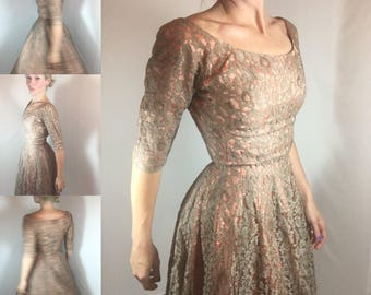 1950s Lace Party Dress with Beige & Peach