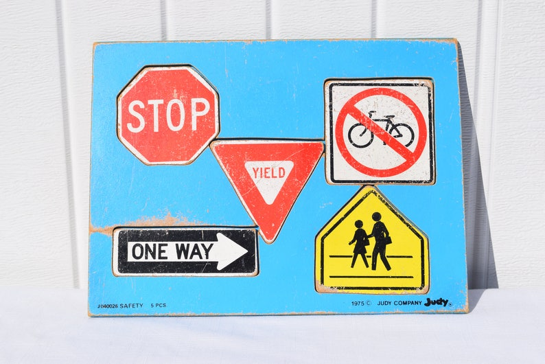 Vintage Judy Instructo Wooden Puzzle Street Signs Made In Etsy