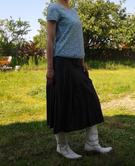 Genuine Black Leather Skirt,Vintage Black Long Sk… - image 2