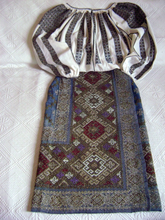 Antique Hand Embroidery Fabric,Folk Blue Skirt,190