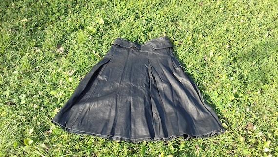 Genuine Black Leather Skirt,Vintage Black Long Sk… - image 10