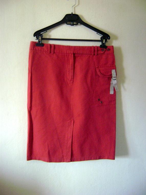 90s Red Linen Skirt Vintage Linen Skirt,Festival S