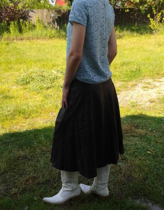 Genuine Black Leather Skirt,Vintage Black Long Sk… - image 4